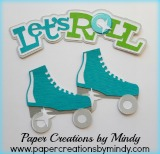 Let's Roll Rollerskating Title Blue